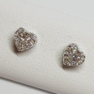 Ασημένια σκουλαρίκια 925 καρδιές με στρας