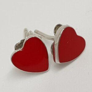 Ασημένια σκουλαρίκια 925 κόκκινες καρδιές