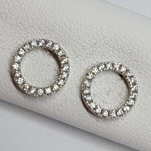 Ασημένια σκουλαρίκια 925 κύκλοι με στρας